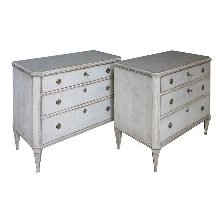 Pair of Late Gustavian Style Chests of Drawers For Sale