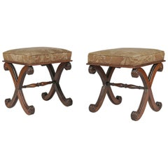 Pair of Late Regency Mahogany Footstools
