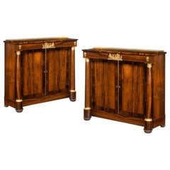 Pair of Late Regency Rosewood Side Cabinets, in the French Empire Style