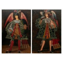 Pair of Late Renaissance Style Massive Figural Oils on Canvas