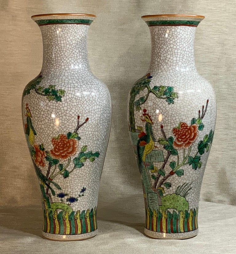 Chinese Pair of Late Republic Porcelain Vases For Sale