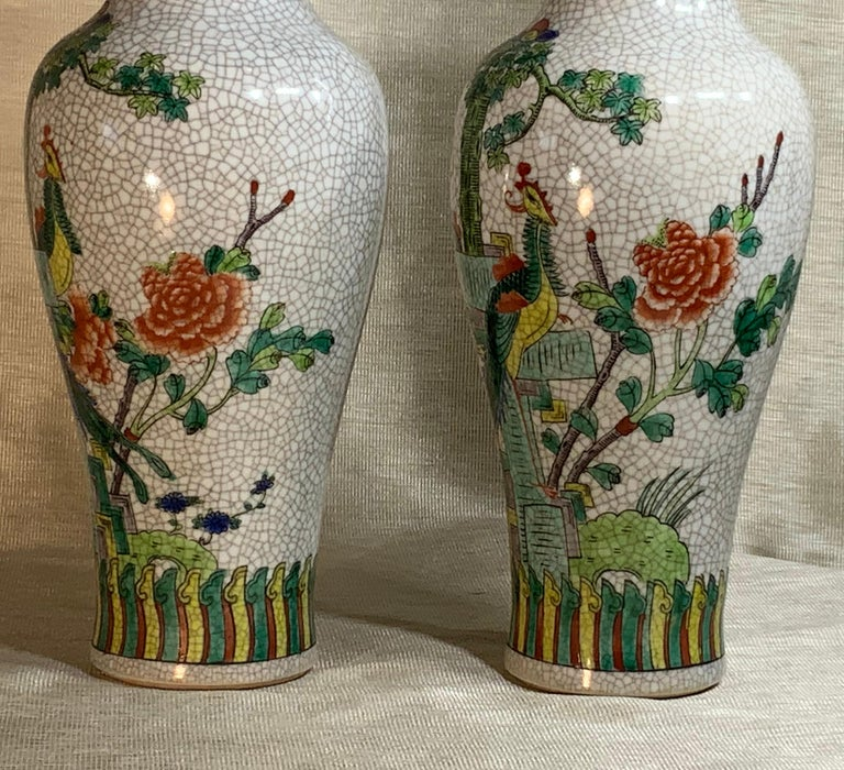 Pair of Late Republic Porcelain Vases In Good Condition For Sale In Delray Beach, FL