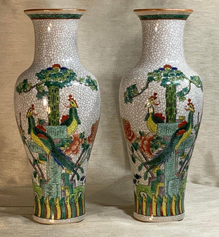 Pair of Late Republic Porcelain Vases For Sale 4