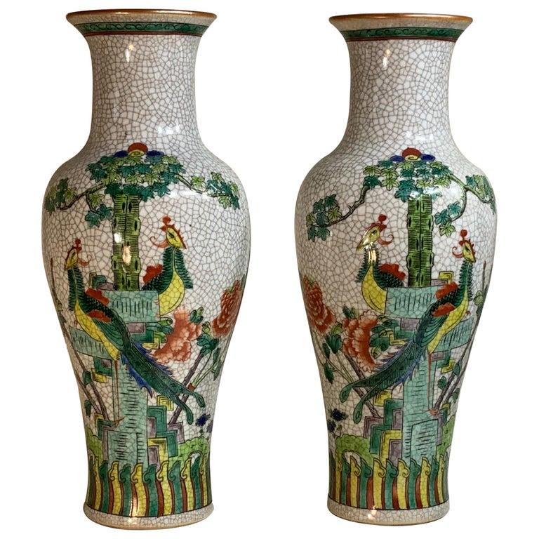 Pair of Late Republic Porcelain Vases For Sale