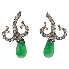 Pair of Late Victorian 1880s Deep Green Jade and Diamond Earrings