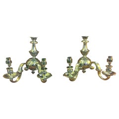 Pair of Late Victorian Brass Wall Lights
