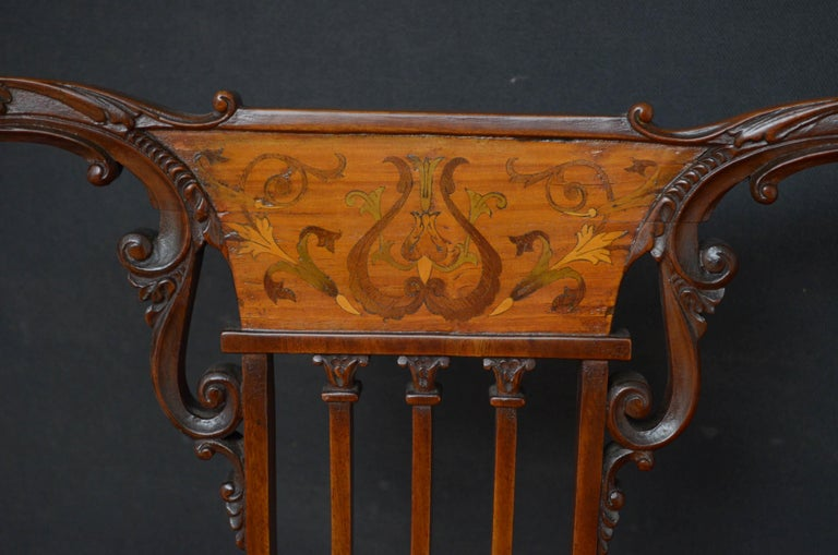 Late 19th Century Pair of Late Victorian Carver Chairs in Mahogany For Sale