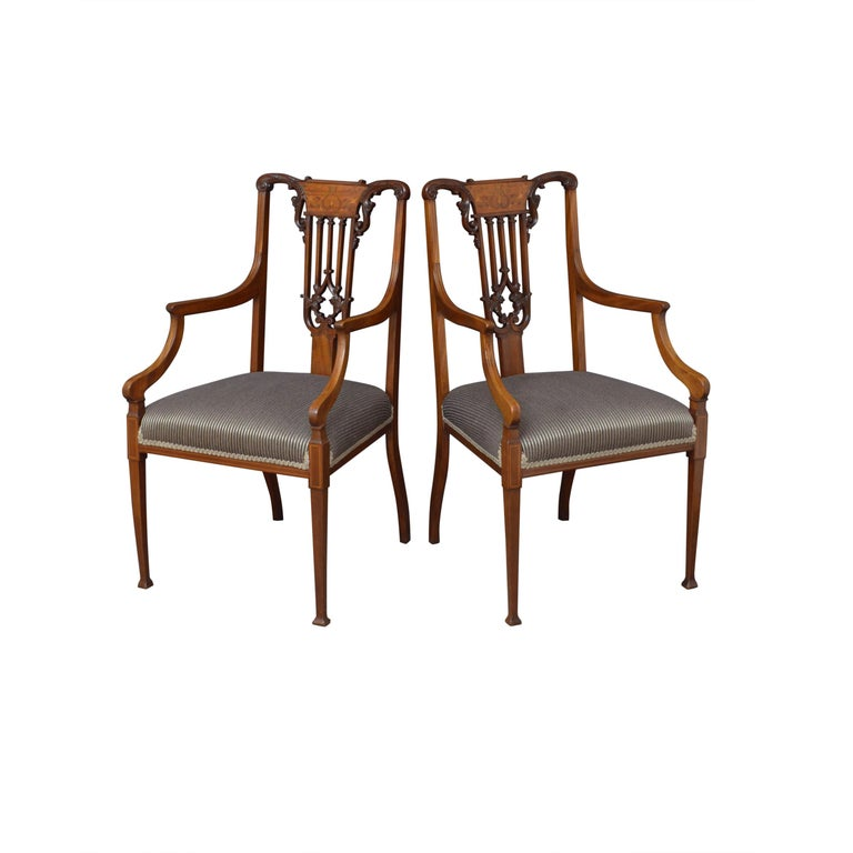 Pair of Late Victorian Carver Chairs in Mahogany For Sale