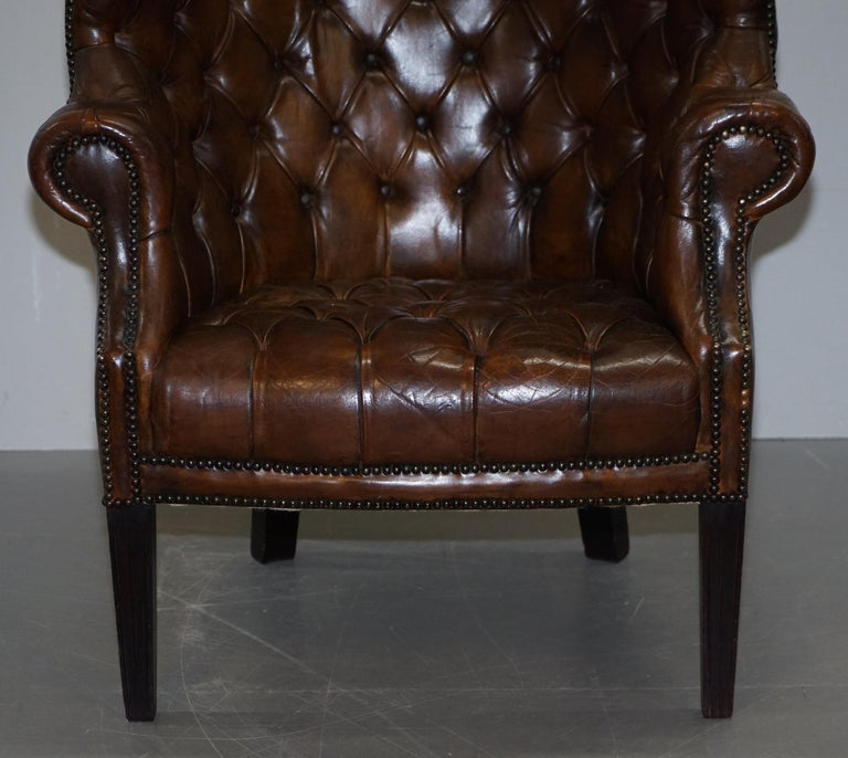 Pair of Late Victorian Chesterfield Porters Wingback Armchairs Brown Leather For Sale 4