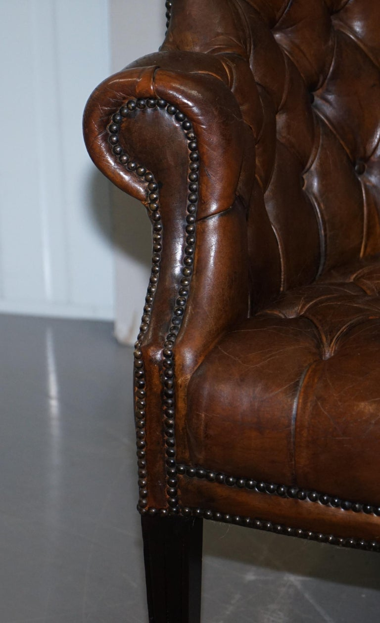 Pair of Late Victorian Chesterfield Porters Wingback Armchairs Brown Leather For Sale 5