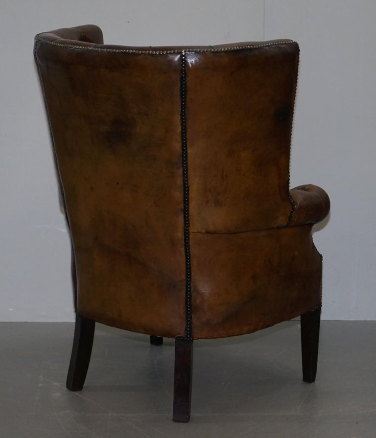 Pair of Late Victorian Chesterfield Porters Wingback Armchairs Brown Leather For Sale 7