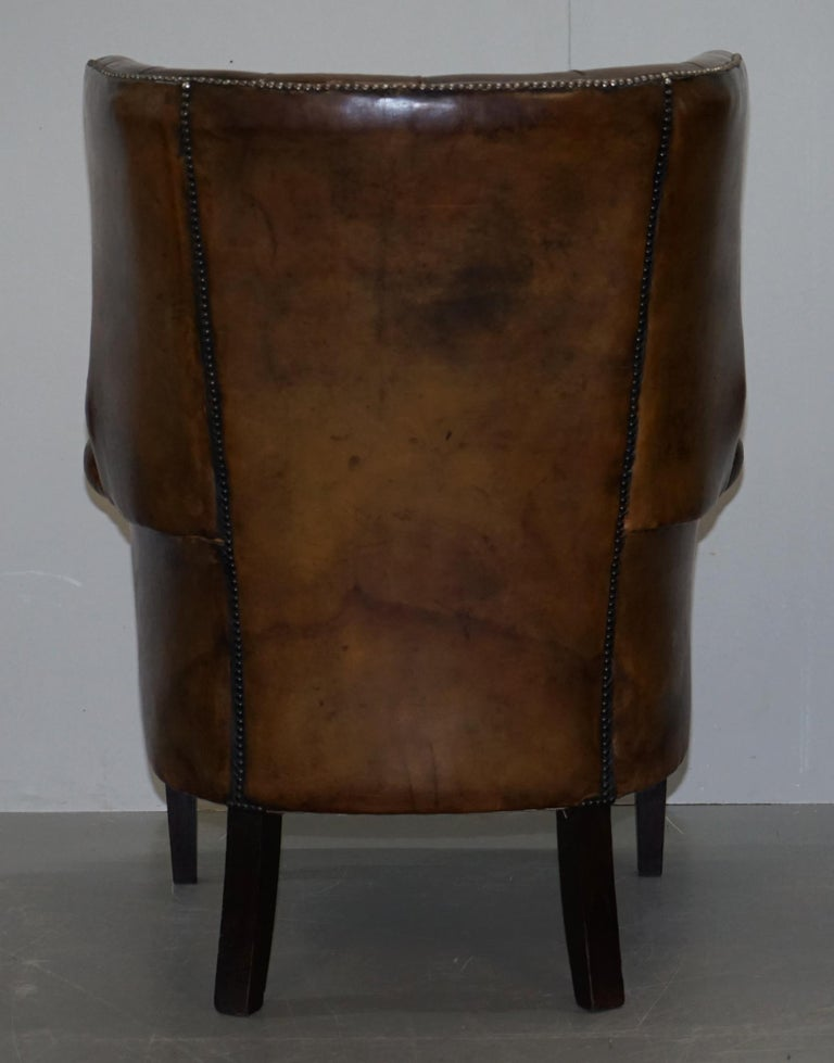 Pair of Late Victorian Chesterfield Porters Wingback Armchairs Brown Leather For Sale 8