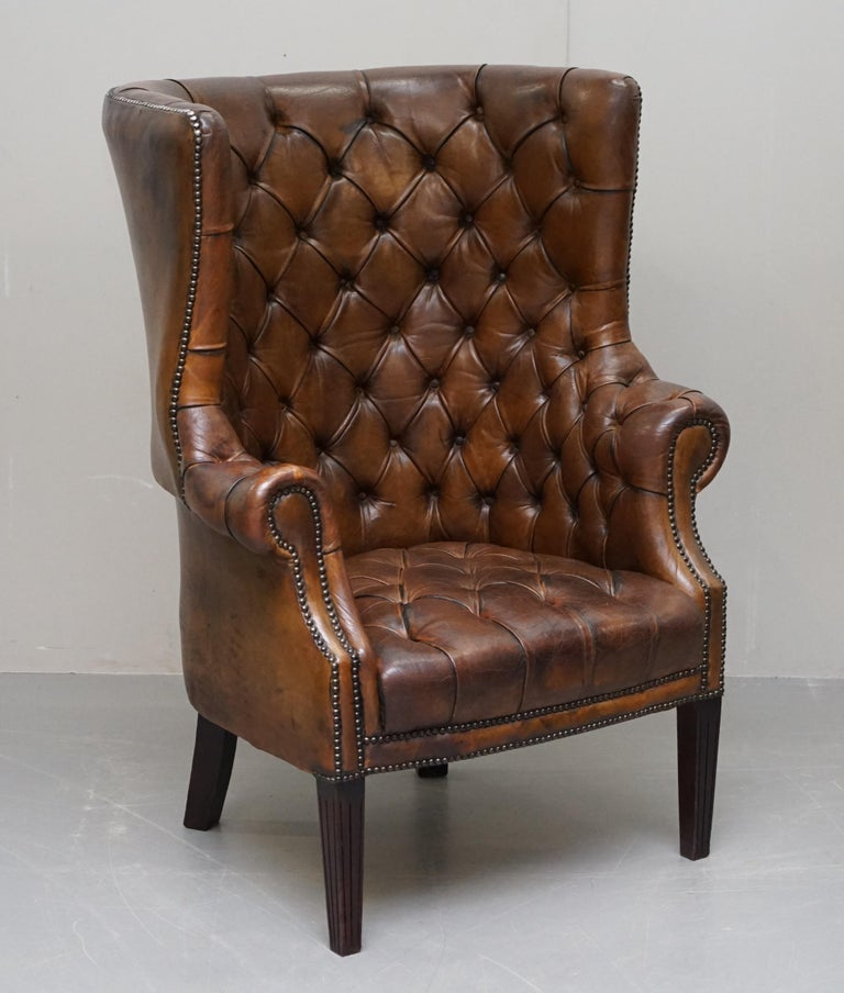 Pair of Late Victorian Chesterfield Porters Wingback Armchairs Brown Leather For Sale 9