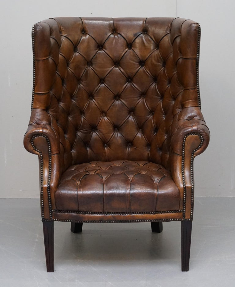 Pair of Late Victorian Chesterfield Porters Wingback Armchairs Brown Leather For Sale 10