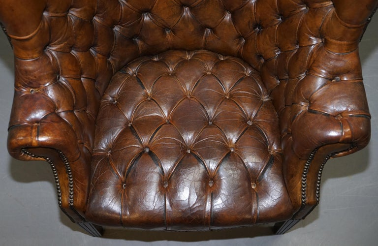 Pair of Late Victorian Chesterfield Porters Wingback Armchairs Brown Leather For Sale 11