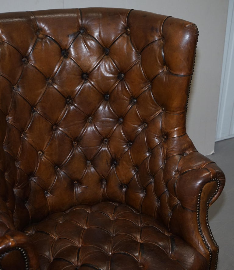 Pair of Late Victorian Chesterfield Porters Wingback Armchairs Brown Leather For Sale 12