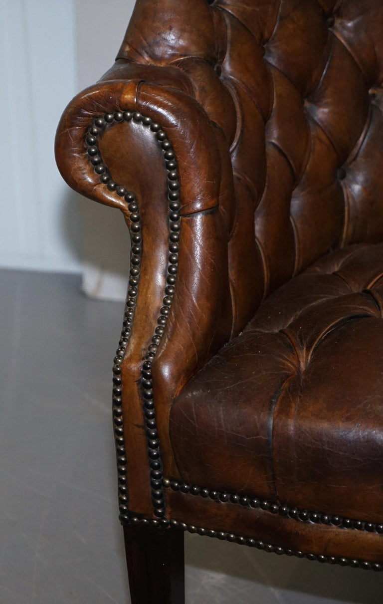 Pair of Late Victorian Chesterfield Porters Wingback Armchairs Brown Leather For Sale 13