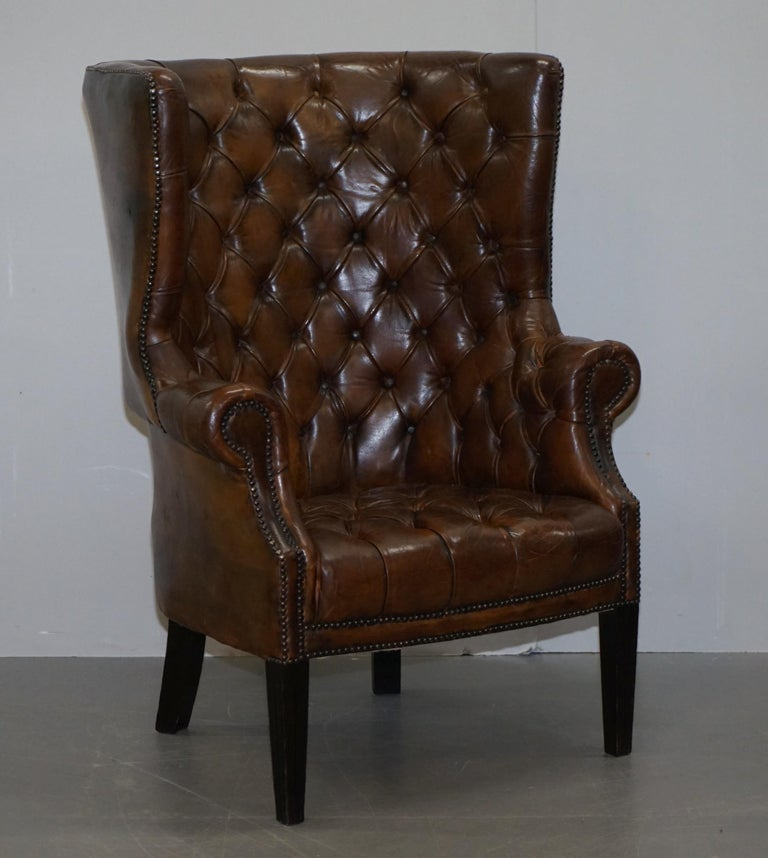 We are delighted to offer for sale this stunning pair of lovely late Victorian Porters barrel back armchairs in cigar brown leather   These chairs are a real tour de force, they have absolutely everything going for them, the leather hide is