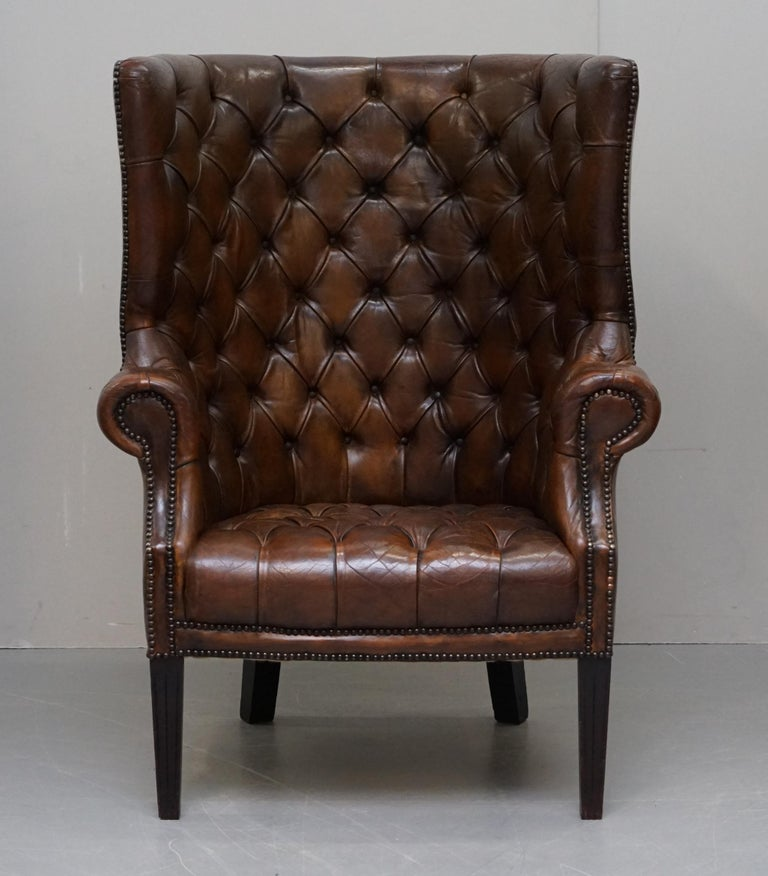 English Pair of Late Victorian Chesterfield Porters Wingback Armchairs Brown Leather For Sale