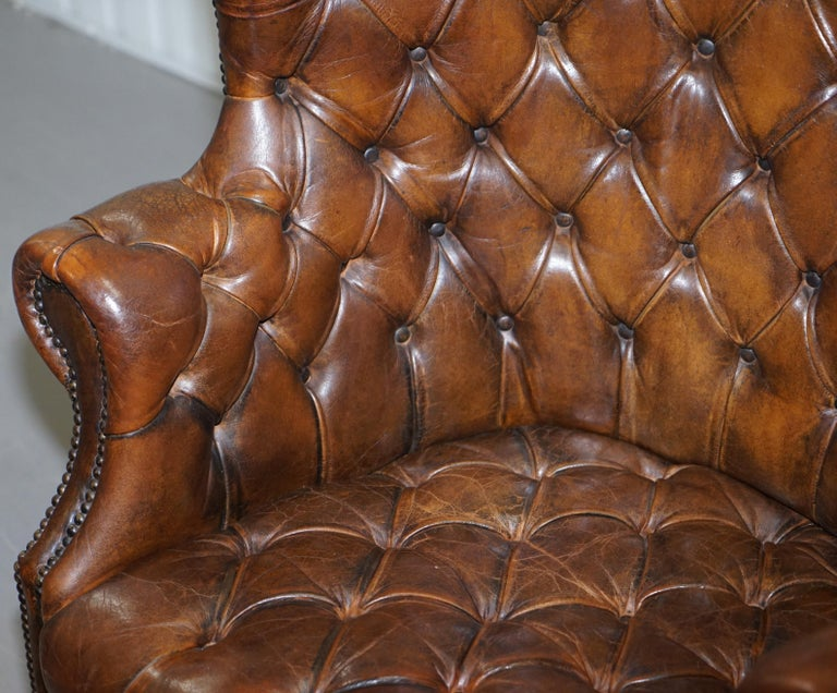 Pair of Late Victorian Chesterfield Porters Wingback Armchairs Brown Leather For Sale 1