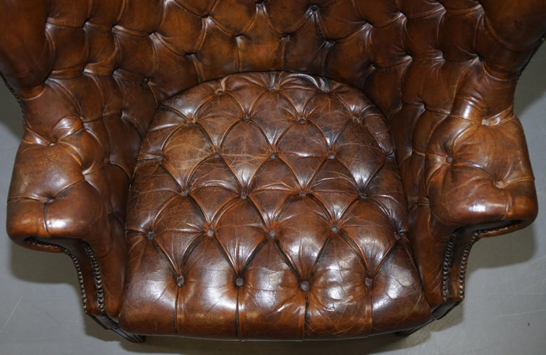 Pair of Late Victorian Chesterfield Porters Wingback Armchairs Brown Leather For Sale 2