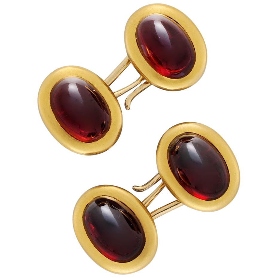 Pair of Late Victorian Garnet Cufflinks