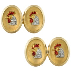 Pair of Late Victorian Rooster Cufflinks