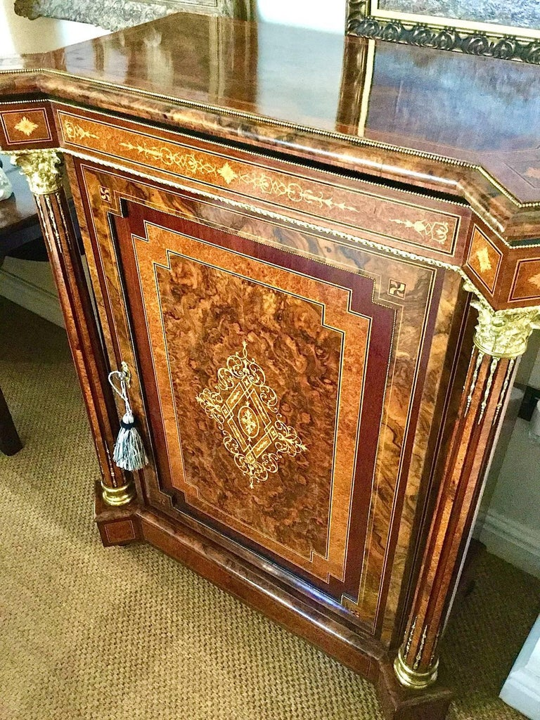Marquetry Pair of Late Victorian Side Cabinets, circa 1880 For Sale