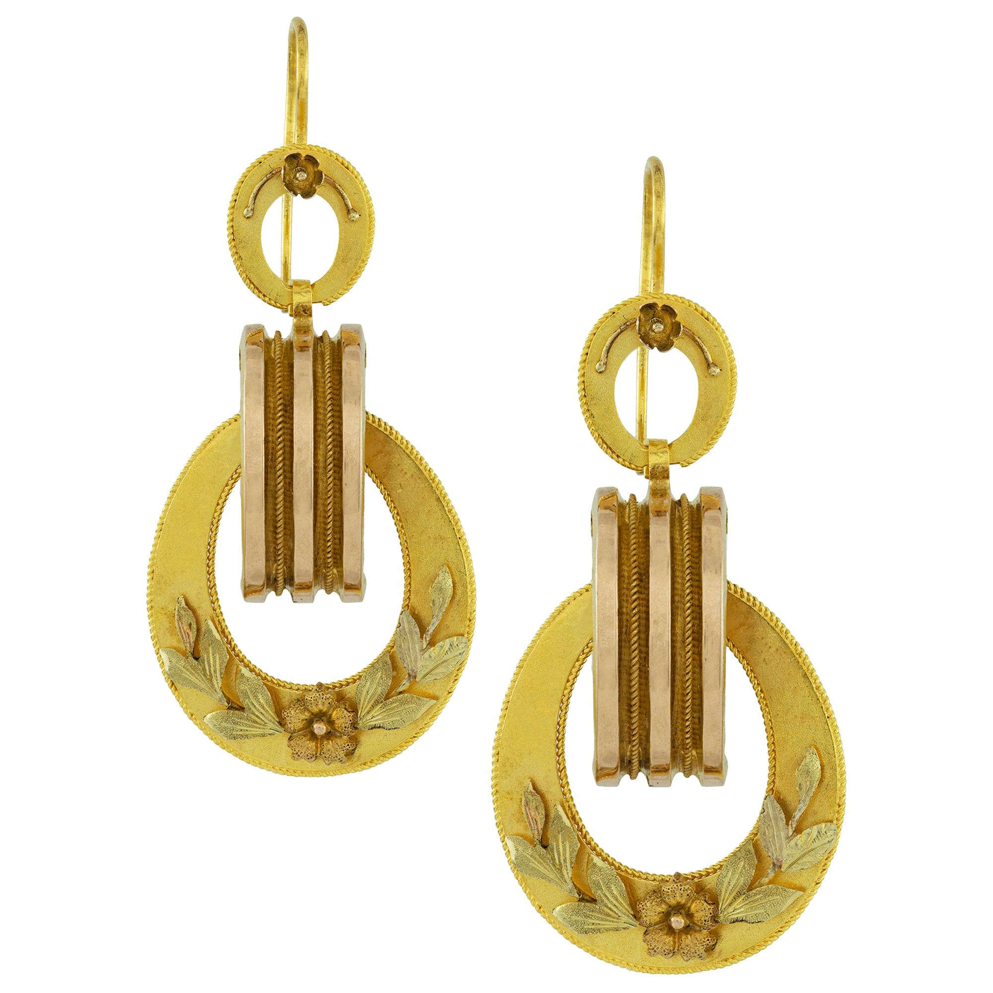 Pair of Victorian Yellow Gold Drop Earrings