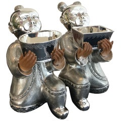"Pair of ""Laughing Boys"" in Sterling Silver and Wood"