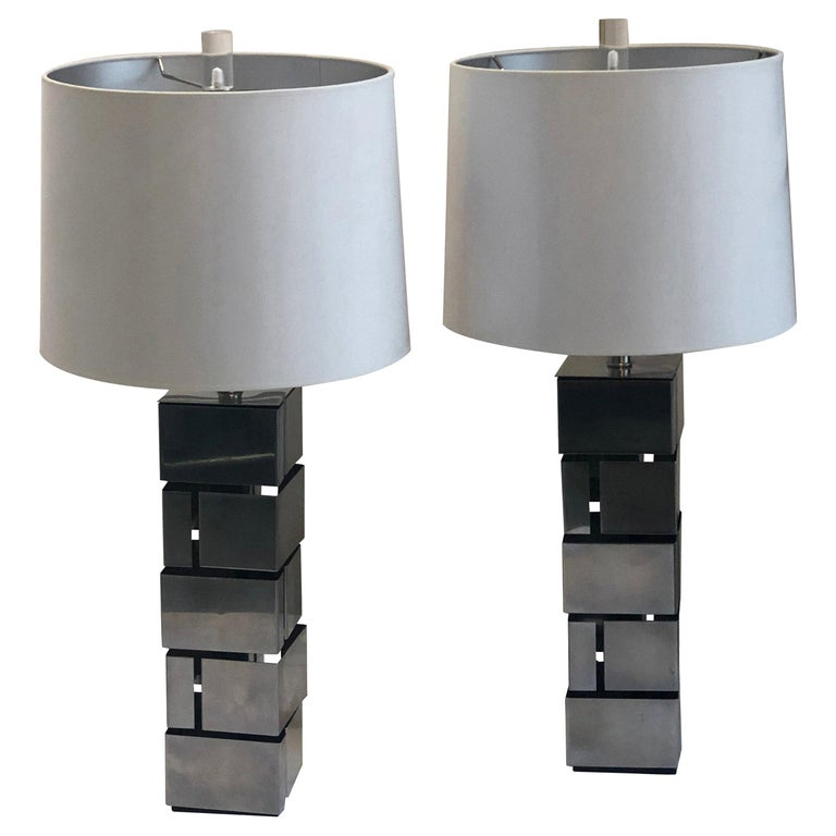 """Pair of Laurel """"Brutalist"""" Style Stainless Steel Table Lamps For Sale"""