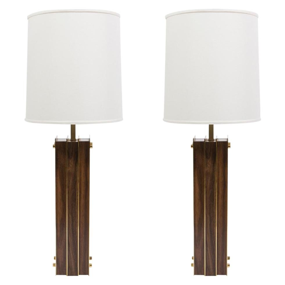 Pair of Laurel I Beam Table Lamps with Wood and Brass
