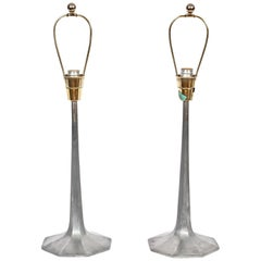 Pair of Laurel Lamp Co. Grey Burnished Aluminum Octagonal Woodland Bedside Lamps