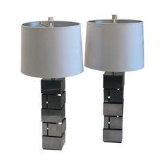 "Pair of Laurel Mid-Century Modern ""Brutalist"" Style Stainless Steel Table Lamps"