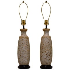 Pair of Lava Glazed Mid century Table Lamps