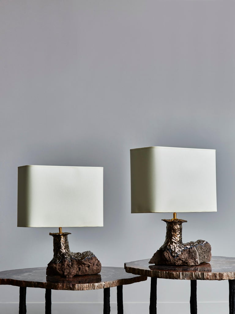 Modern Pair of Lava Stone and Ceramic Table Lamps by Leo Nataf For Sale