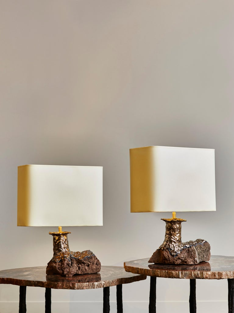 French Pair of Lava Stone and Ceramic Table Lamps by Leo Nataf For Sale