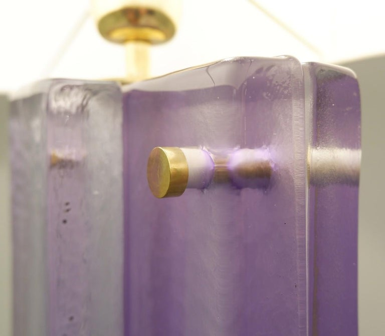 Pair of Lavender Murano Glass Table Lamps In Good Condition For Sale In Brussels, BE