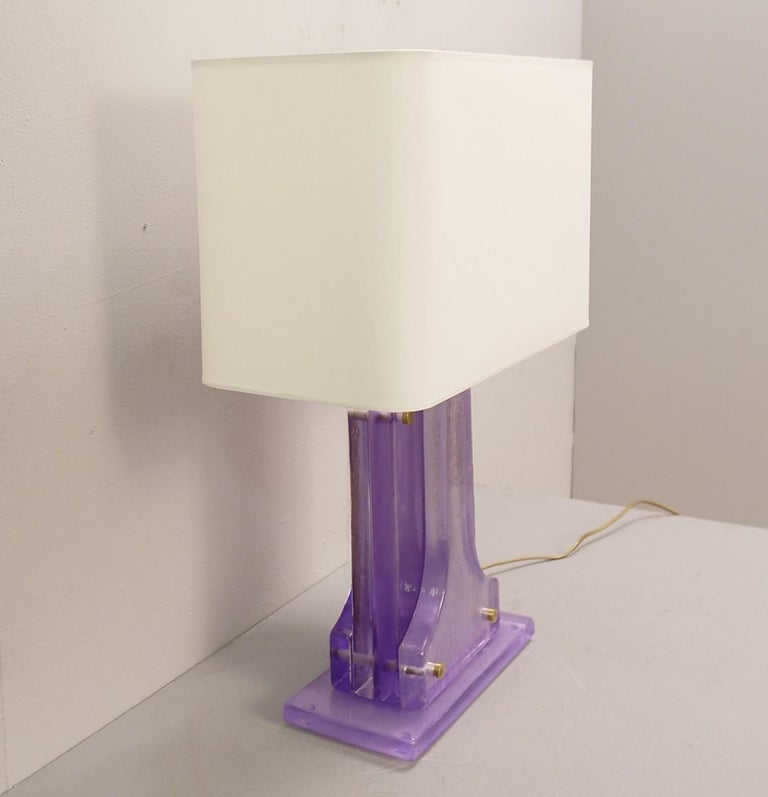 Contemporary Pair of Lavender Murano Glass Table Lamps For Sale