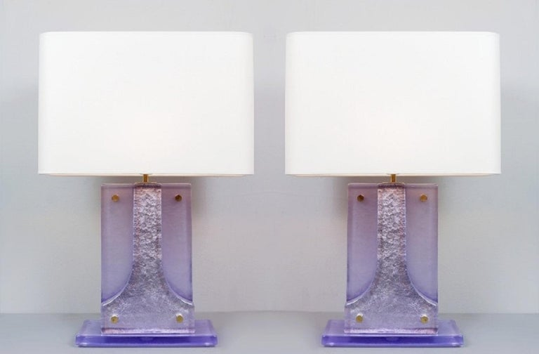 Pair of Lavender Murano Glass Table Lamps For Sale 1
