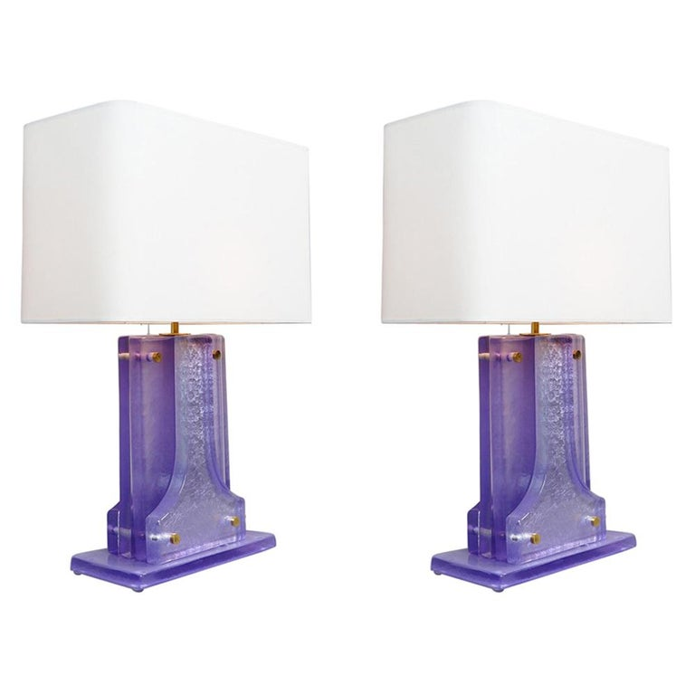 Pair of Lavender Murano Glass Table Lamps For Sale