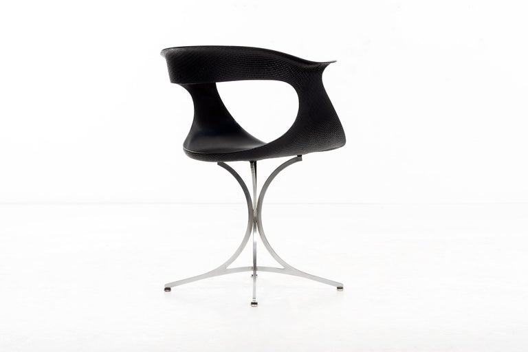 """Steel Pair of Laverne """"Lotus"""" Chairs For Sale"""