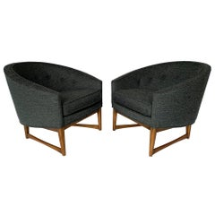 Pair of Lawrence Peabody Barrel Back Horseshoe Shaped Lounge Chairs