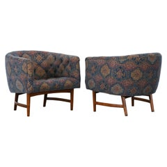 Pair of Lawrence Peabody Barrel Back Lounge Chairs, 1960s