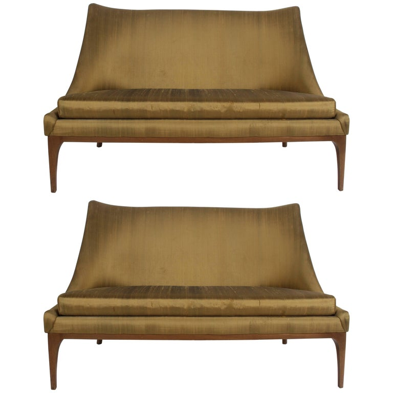 Pair of Lawrence Peabody Midcentury Loveseats, Settees or Sofas For Sale