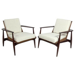 Pair of Lawrence Peabody Walnut and Rattan Lounge Chairs