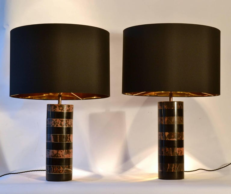 Pair Of Layered Marble Cylinder Table Lamps With Black Shades For