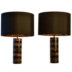 1970's Pair of Layered Old Pink & Black Marble Cylinder Table Lamps