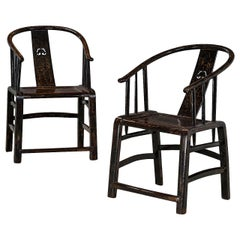 """Pair of """"Lazy Chairs"""" in Original Beautiful Black Lacquer"""