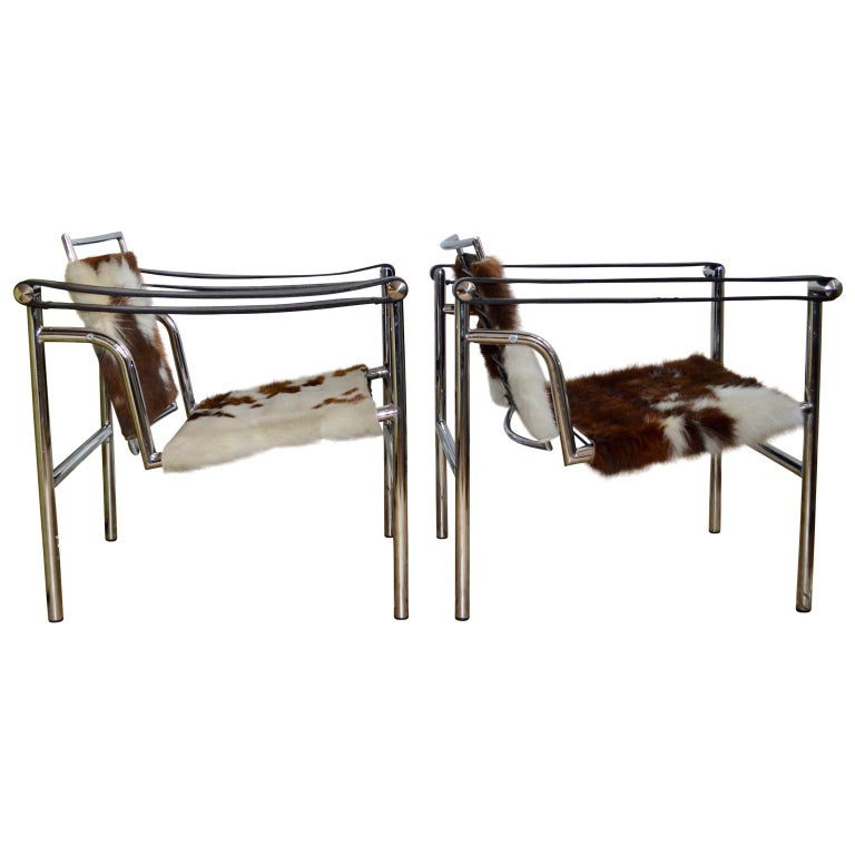 Bauhaus Pair of LC1 Sling Chairs in Pony Skin. For Sale